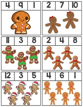 Gingerbread Men Clip Cards | Numbers 1-12