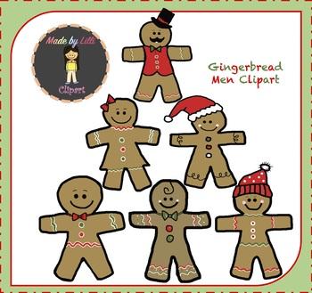 Gingerbread Men Clipart {Christmas Clipart}