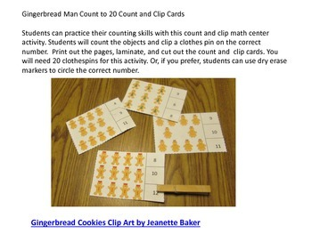 Gingerbread Man Counting to 20, Count and Clip, Kindergarten Math, Special Ed