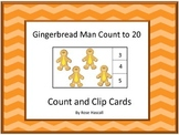 Gingerbread Man, Center Math, Count to 20 Count Clip Fine Motor P-K,K Special Ed