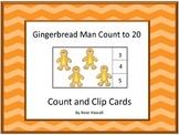 Gingerbread Math Count and Clip Cards Kindergarten Gingerbread Man Activities