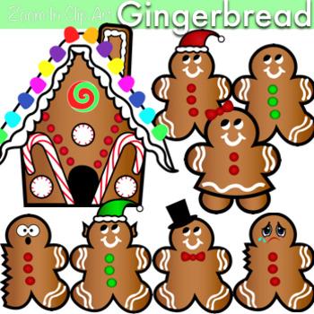 Gingerbread Men Women and House Clip Art