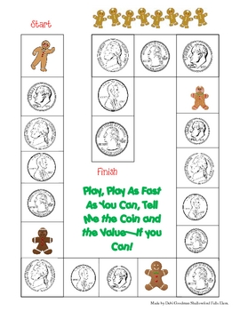 Gingerbread Money  Coin and Values Game Board