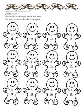 Gingerbread Multiplication worksheet