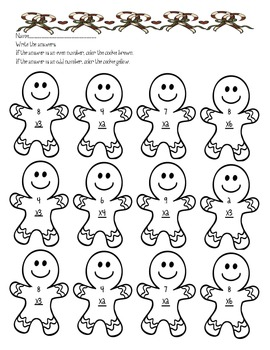 Gingerbread Multiplication worksheet