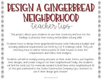 Gingerbread Neighborhood Math Project