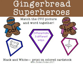 Gingerbread Superheroes CVC Matching