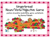 Gingerbread Noun, Verb, Adjective Game with posters, brace
