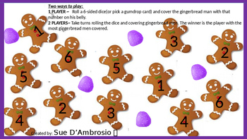 Gingerbread Number Cover  (Gumdrop Subitizing Cards)( Number Recognition 1-6)