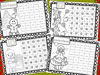 Gingerbread Number & Number Word Recognition Practice Sheets (40 Total)
