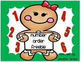 Gingerbread Number Order FREEBIE!  CC Aligned & Fun for PreK-1