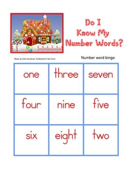 Gingerbread Number Word Bingo