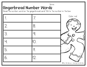 Gingerbread Number Words