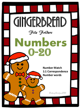 Gingerbread Numbers 0-20 File Folders