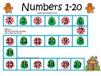 Gingerbread Numbers 1-20 Game board