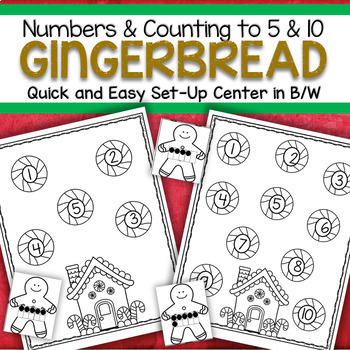 Gingerbread Numbers Counting Quick and Easy Set-Up Center 0-10