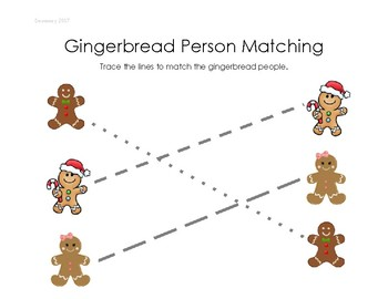 Gingerbread Person Matching- Line Drawing