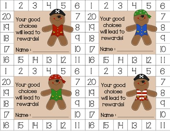 Gingerbread Pirate Behavior Punch Card