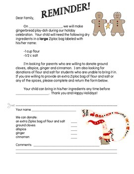 Gingerbread Play-Doh Parent Letter