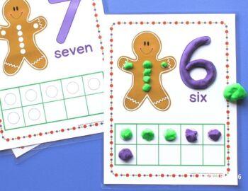 Gingerbread Math Activities | Gingerbread Fine Motor | Christmas Play Dough Mats