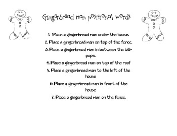 Gingerbread Positional Words