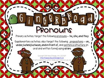 Gingerbread Pronouns – Holiday Language Activities with a