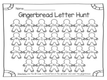 Gingerbread QR Codes: Addition & Letter Hunt (BUNDLE)