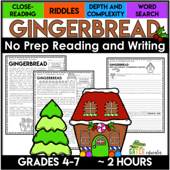Gingerbread Activities | Christmas Activities | Reading Comprehension Passages