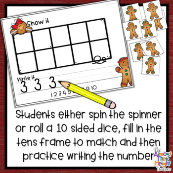Gingerbread Man Roll and Count - a Number Counting and Writing activity - 1-20