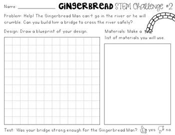 Gingerbread STEM Challenges Freebie