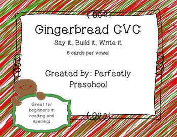 Gingerbread Say It, Build It, Write It CVC Cards