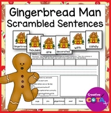 Gingerbread Scrambled Sentence Cards and Build a Sentence Cut/Paste Worksheets