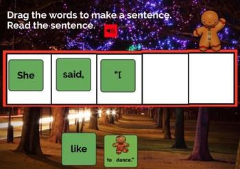 Gingerbread Sentences BOOM CARDS