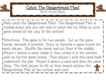 Gingerbread Short Vowel Game