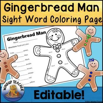 Gingerbread Sight Word Coloring Sheet Activity   *Editable*