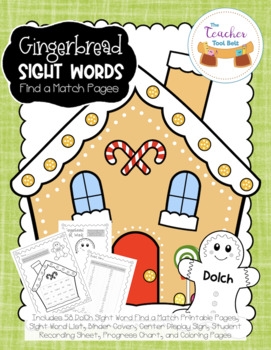Gingerbread Sight Words Find a Match Pages