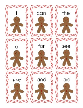 Gingerbread Sight Word Flash Cards