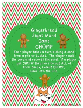 Sight Word Game-Gingerbread CHOMP