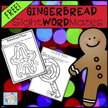 Gingerbread Sight Word Mazes FREE