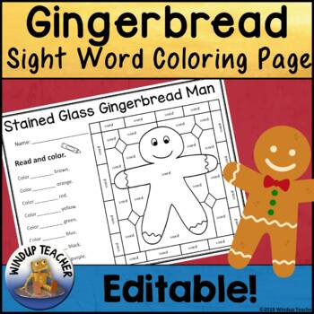 Gingerbread Sight Word Stained Glass Sheet   *Editable*