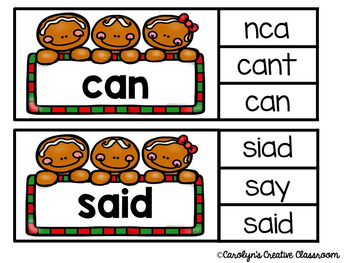 Gingerbread Sight Words (100 Fry Sight Words) - Clip Cards