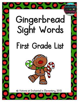 Gingerbread Sight Words! First Grade List Pack