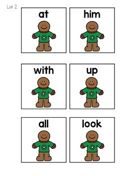 Gingerbread Sight Words Roll, Say, Keep Game