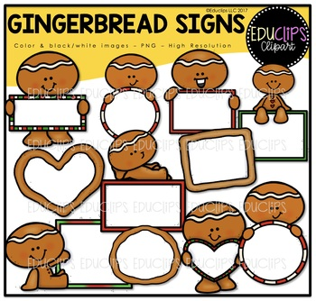 Gingerbread Signs Clip Art Bundle {Educlips Clipart}