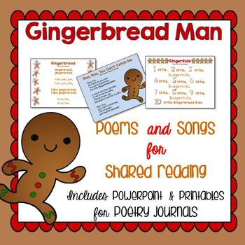 Gingerbread Man Songs for Shared Reading or Poetry Journal