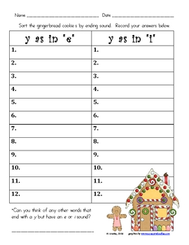 Gingerbread Sort: y as e or i