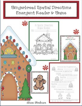 Gingerbread Activities: Gingerbread Directional Words Emergent Reader & Game