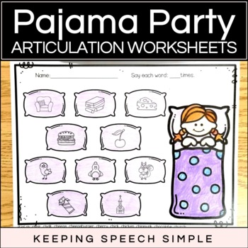 Pajama Party - No Prep Worksheets for Speech Therapy