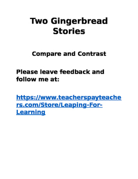 Gingerbread Stories Compare and Contrast