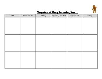 Gingerbread Story Recording Sheet